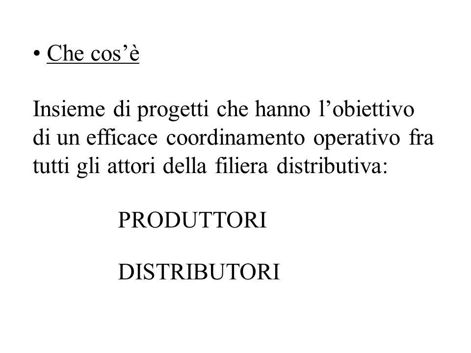 Che cosè Insieme di progetti che hanno lobiettivo di un efficace coordinamento operativo fra tutti gli attori della filiera distributiva: PRODUTTORI DISTRIBUTORI