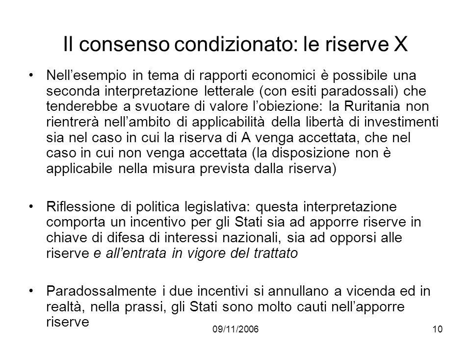 09/11/200610 Il consenso condizionato: le riserve X Nellesempio in tema di rapporti economici è possibile una seconda interpretazione letterale (con e