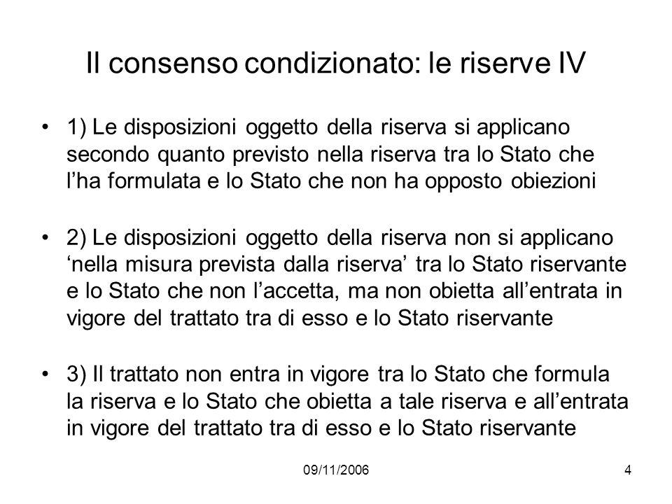 09/11/20064 Il consenso condizionato: le riserve IV 1) Le disposizioni oggetto della riserva si applicano secondo quanto previsto nella riserva tra lo