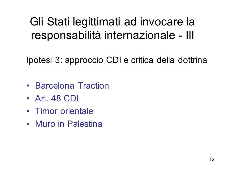 12 Gli Stati legittimati ad invocare la responsabilità internazionale - III Ipotesi 3: approccio CDI e critica della dottrina Barcelona Traction Art.
