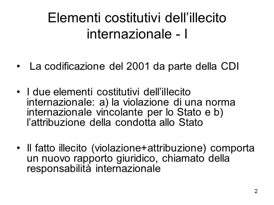 3 Elementi costitutivi dellillecito internazionale - II Il danno materiale non è elemento costitutivo della responsabilità (il c.d.