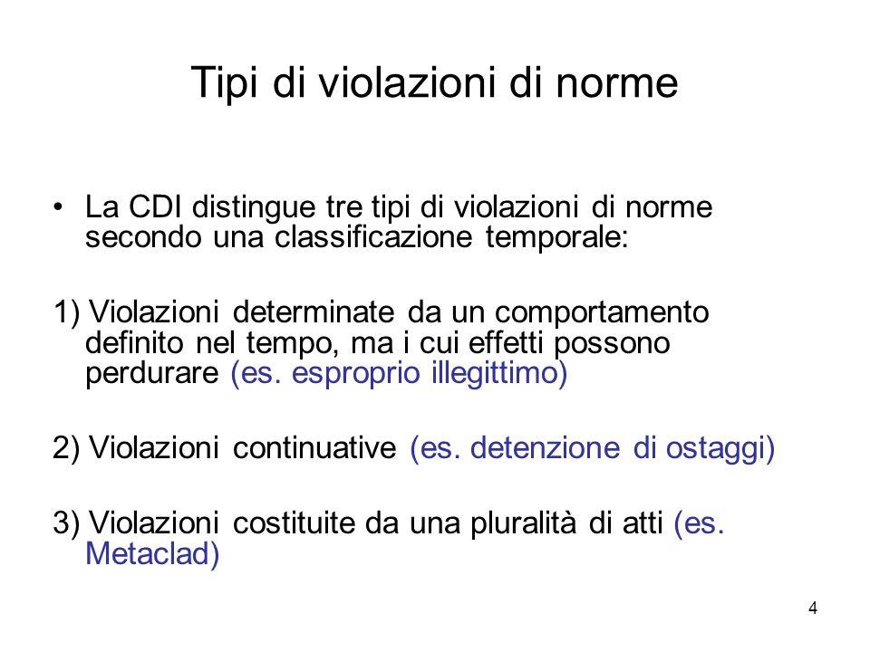 4 Tipi di violazioni di norme La CDI distingue tre tipi di violazioni di norme secondo una classificazione temporale: 1) Violazioni determinate da un comportamento definito nel tempo, ma i cui effetti possono perdurare (es.