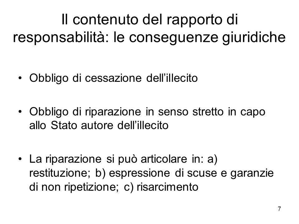 8 Il contenuto del rapporto di responsabilità: le conseguenze giuridiche La riparazione in senso ampio per il c.d.