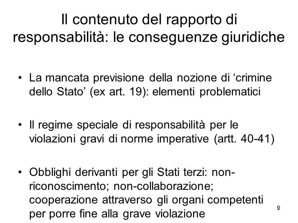 9 Il contenuto del rapporto di responsabilità: le conseguenze giuridiche La mancata previsione della nozione di crimine dello Stato (ex art.