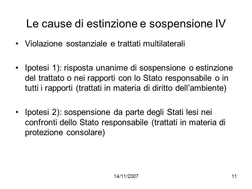 14/11/200711 Le cause di estinzione e sospensione IV Violazione sostanziale e trattati multilaterali Ipotesi 1): risposta unanime di sospensione o est