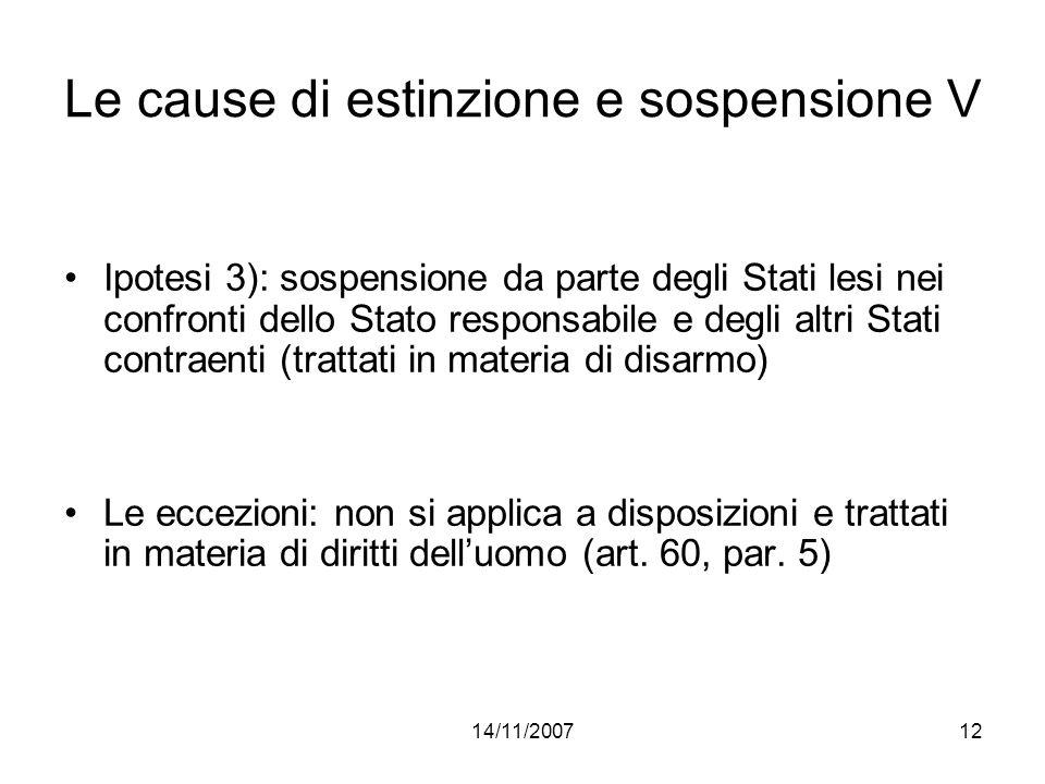 14/11/200712 Le cause di estinzione e sospensione V Ipotesi 3): sospensione da parte degli Stati lesi nei confronti dello Stato responsabile e degli a