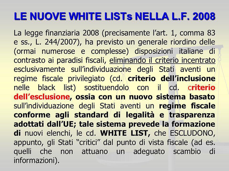 LE NUOVE WHITE LISTs NELLA L.F. 2008 La legge finanziaria 2008 (precisamente lart.