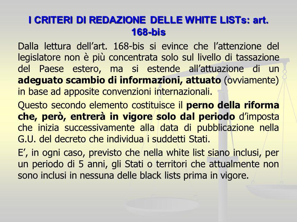 I CRITERI DI REDAZIONE DELLE WHITE LISTs: art. 168-bis Dalla lettura dellart.