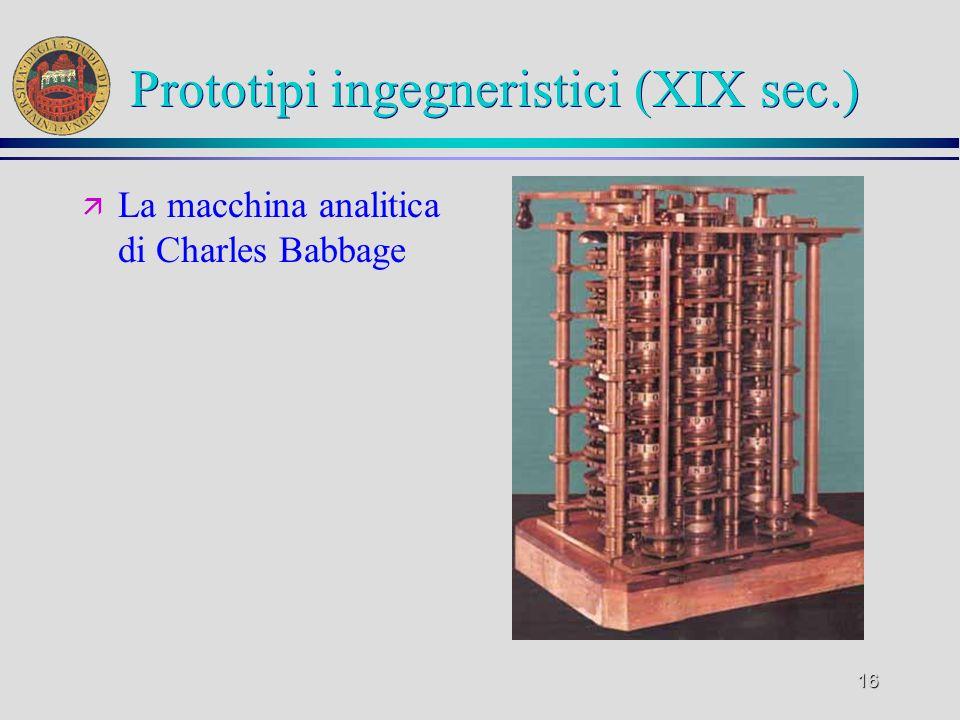 15 La nascita del calcolo automatico ä Progenitori del calcolatore moderno ä Macchine per la tessitura meccanica ä Il Telaio Jacquard che effettuava l