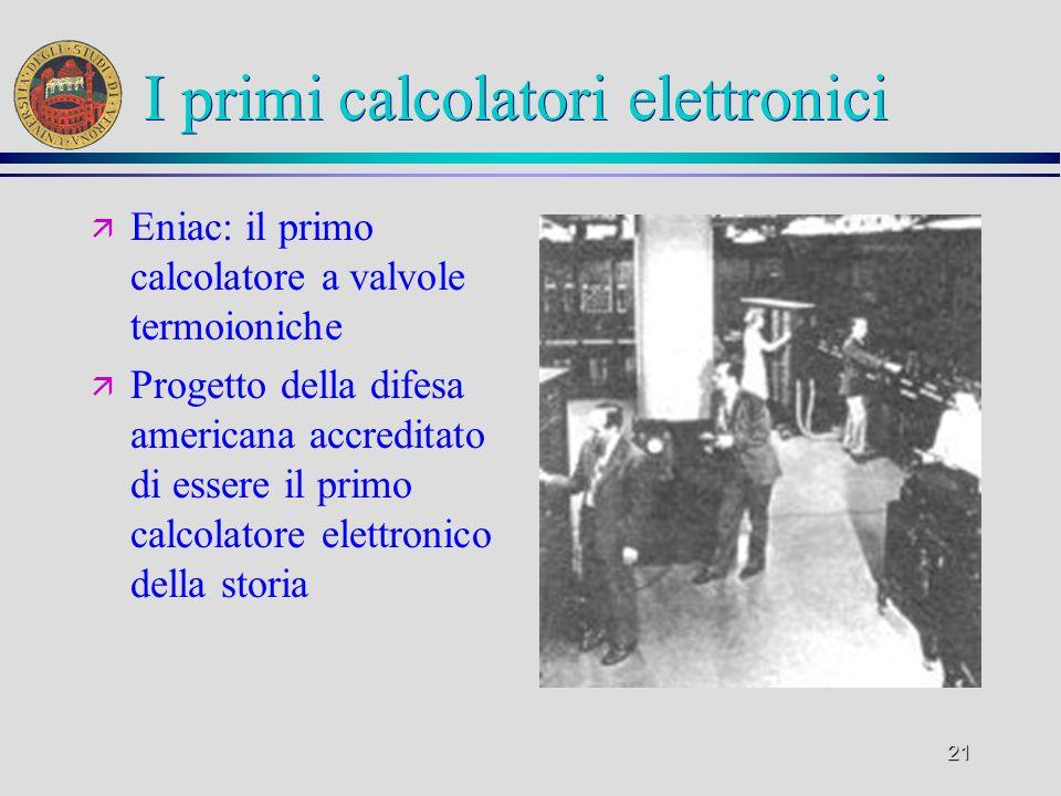 20 I primi calcolatori elettronici ä Colossus- progetto inglese degli anni 40 di cui non sono noti i risultati tecnici ä Molto contestato in letteratu