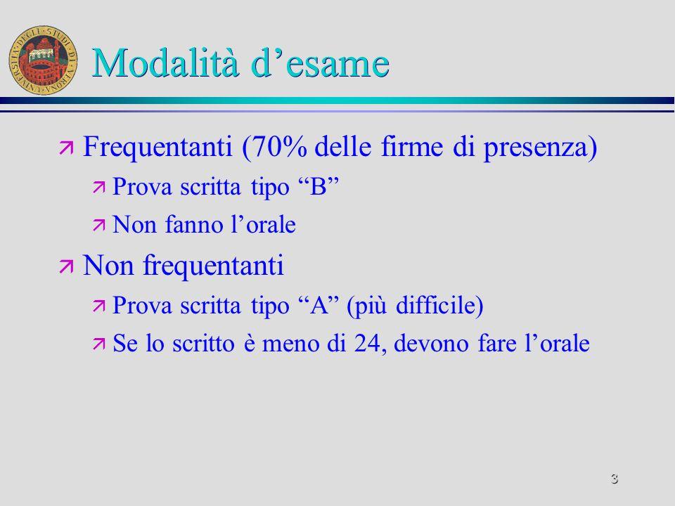 2 Testi ä Teoria ä M. Cristani: Introduzione allInformatica (editrice CEDAM) 2003 ä Lucidi delle lezioni (anche on-line) ä Dispensa integrativa