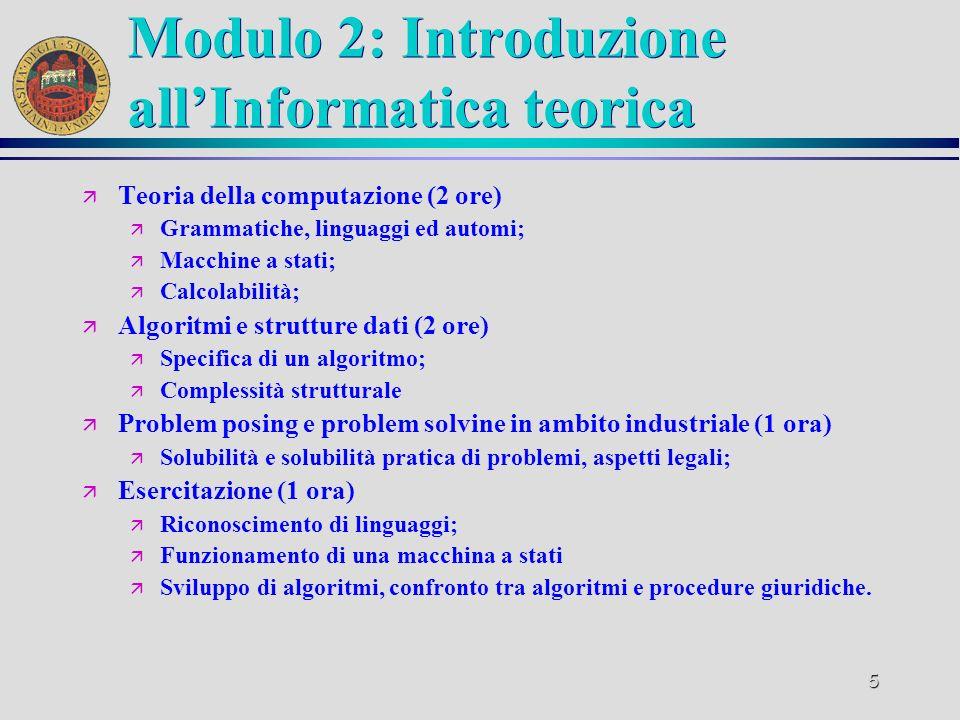 4 Modulo 1: Sistemi informatici ä Introduzione allInformation Technology (2 ore) ä Storia del calcolatore; ä Componenti di un sistema di calcolo; ä St
