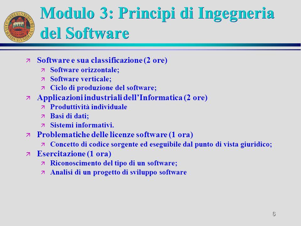 6 Modulo 3: Principi di Ingegneria del Software ä Software e sua classificazione (2 ore) ä Software orizzontale; ä Software verticale; ä Ciclo di produzione del software; ä Applicazioni industriali dellInformatica (2 ore) ä Produttività individuale ä Basi di dati; ä Sistemi informativi.