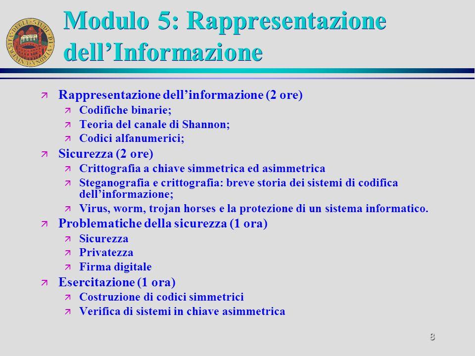 7 Modulo 4: Reti di calcolatori ä Sistemi operativi e loro architettura (2 ore) ä Schedulazione di processi; ä Organizzazione del disco rigido ä Inter
