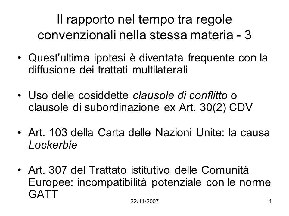 22/11/20074 Il rapporto nel tempo tra regole convenzionali nella stessa materia - 3 Questultima ipotesi è diventata frequente con la diffusione dei tr