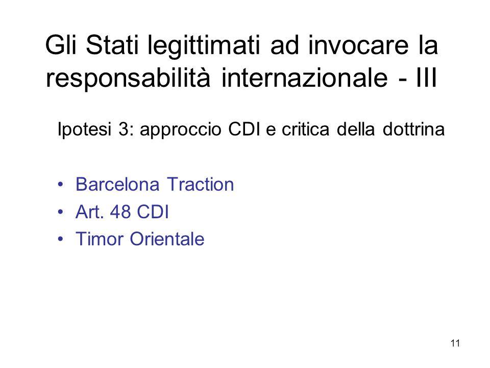 11 Gli Stati legittimati ad invocare la responsabilità internazionale - III Ipotesi 3: approccio CDI e critica della dottrina Barcelona Traction Art.