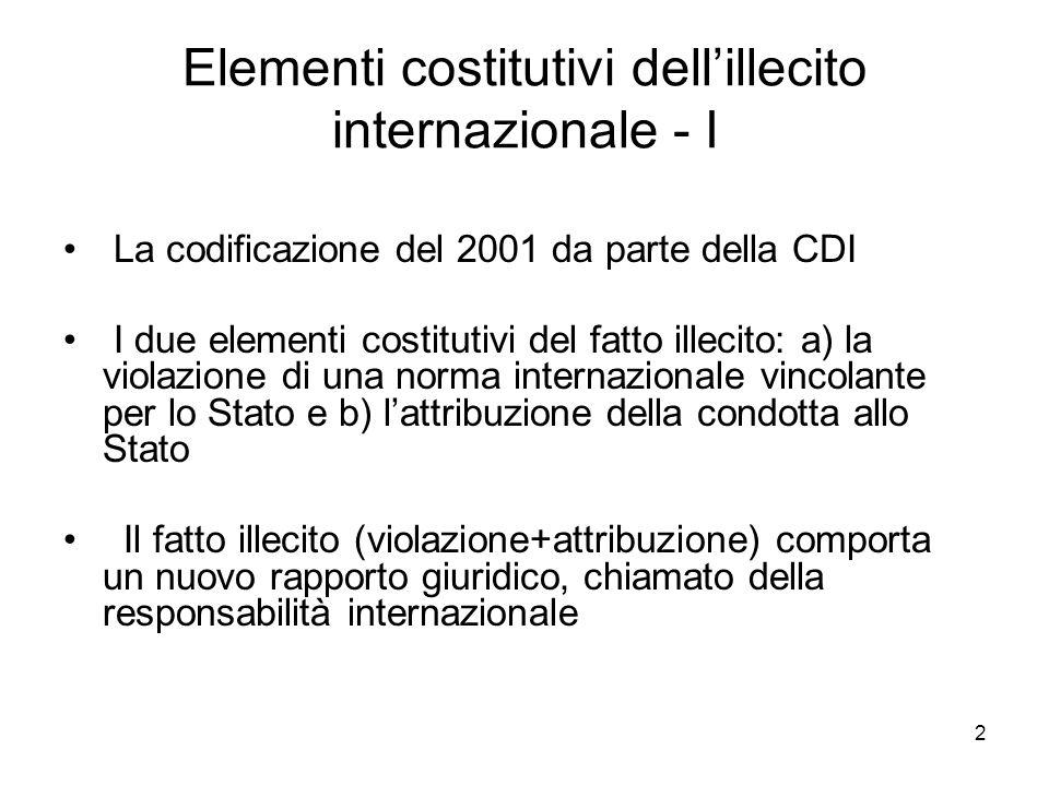 2 Elementi costitutivi dellillecito internazionale - I La codificazione del 2001 da parte della CDI I due elementi costitutivi del fatto illecito: a)