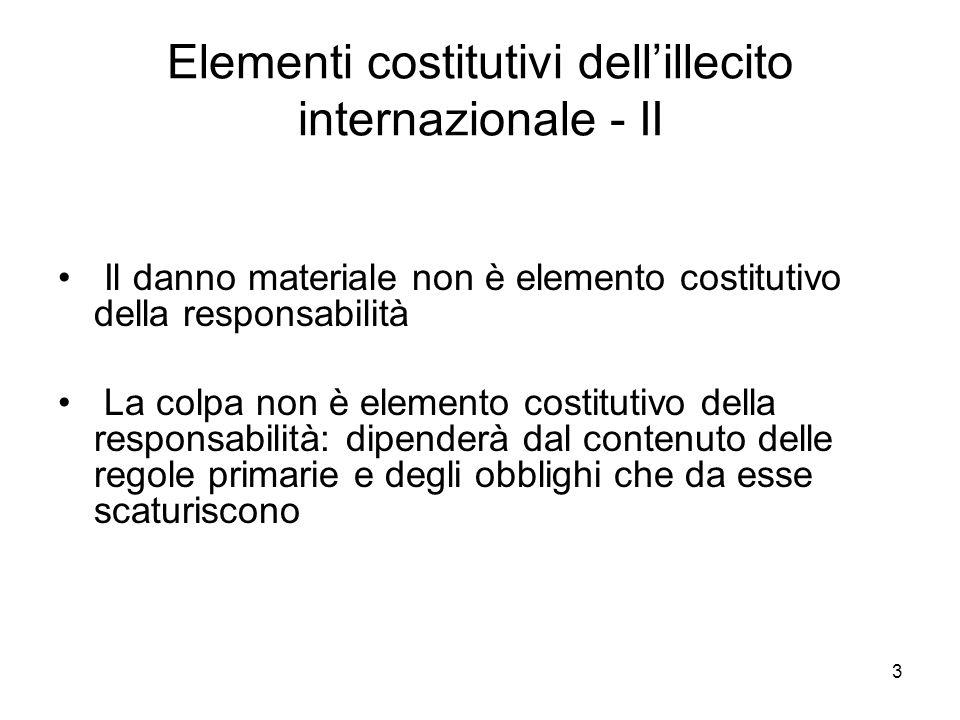 3 Elementi costitutivi dellillecito internazionale - II Il danno materiale non è elemento costitutivo della responsabilità La colpa non è elemento cos