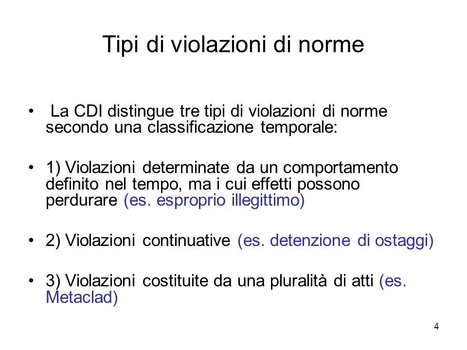 4 Tipi di violazioni di norme La CDI distingue tre tipi di violazioni di norme secondo una classificazione temporale: 1) Violazioni determinate da un