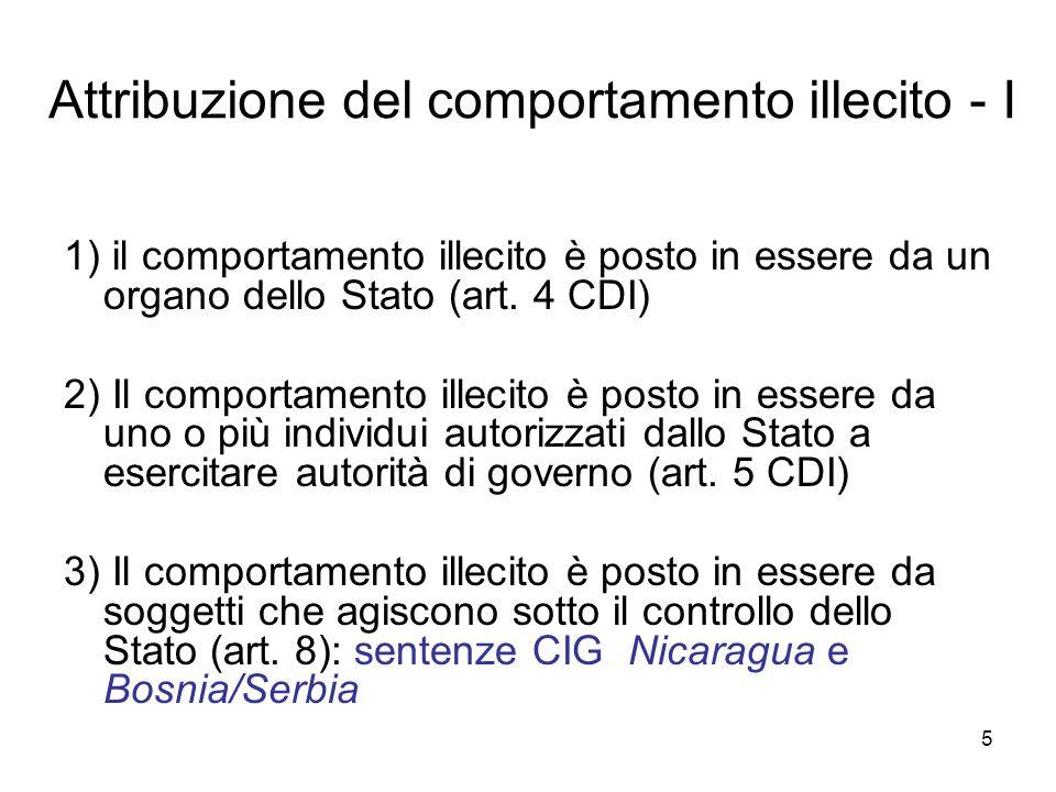5 Attribuzione del comportamento illecito - I 1) il comportamento illecito è posto in essere da un organo dello Stato (art. 4 CDI) 2) Il comportamento