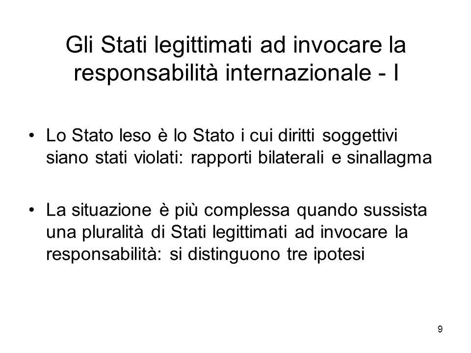 9 Gli Stati legittimati ad invocare la responsabilità internazionale - I Lo Stato leso è lo Stato i cui diritti soggettivi siano stati violati: rappor