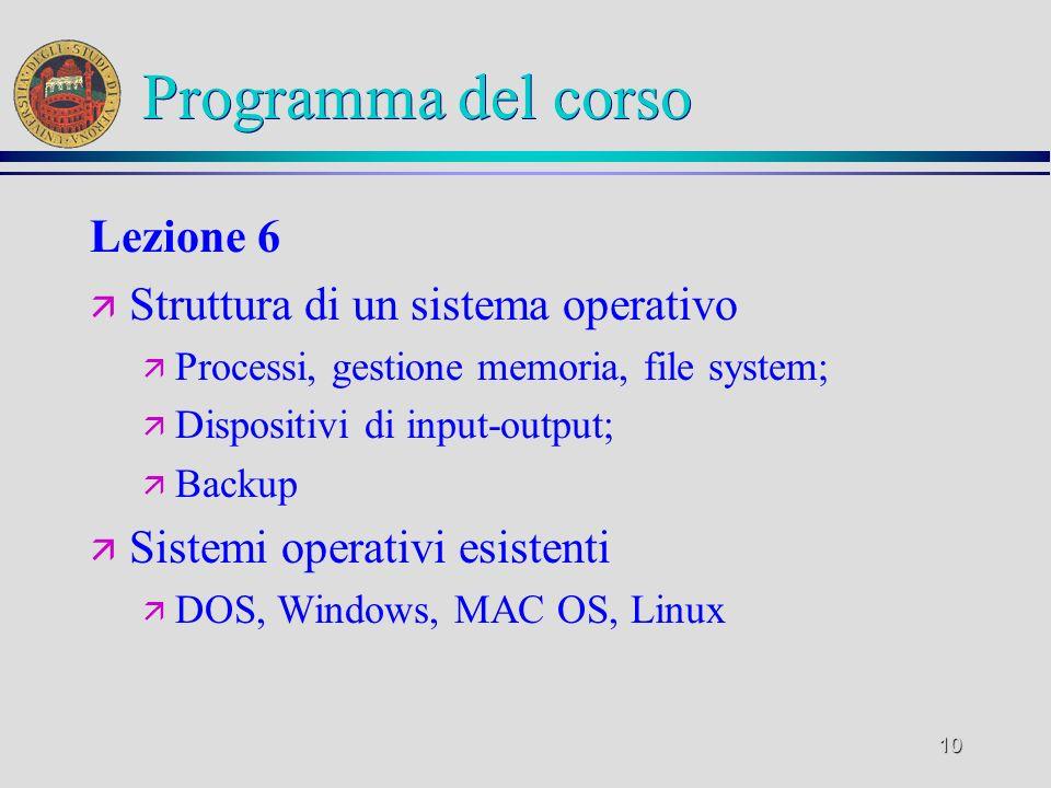 9 Programma del corso Lezione 5 ä Software ä Tipi di software ä Sistema operativo ä Software applicativo ä Fasi di sviluppo del software