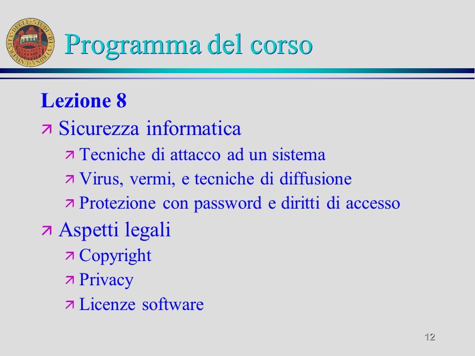 11 Programma del corso Lezione 7 ä Reti informatiche ä LAN, WAN ä Rete telefonica e computer (PSDN, ISDN, ADSL) ä Architettura TCP/IP, Internet e posta elettronica