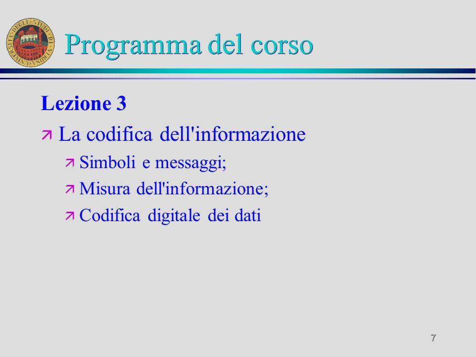 6 Programma del corso Lezione 2 ä Concetto di algoritmo: ä Algoritmi e programmi; ä Codifica dei dati