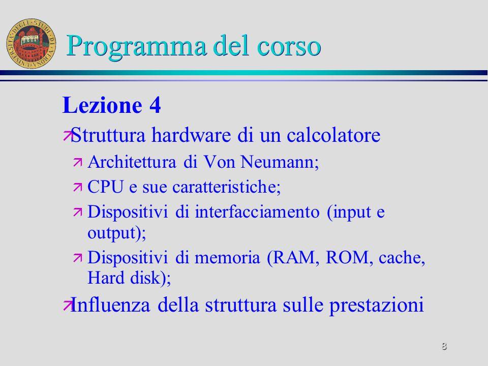7 Programma del corso Lezione 3 ä La codifica dell informazione ä Simboli e messaggi; ä Misura dell informazione; ä Codifica digitale dei dati