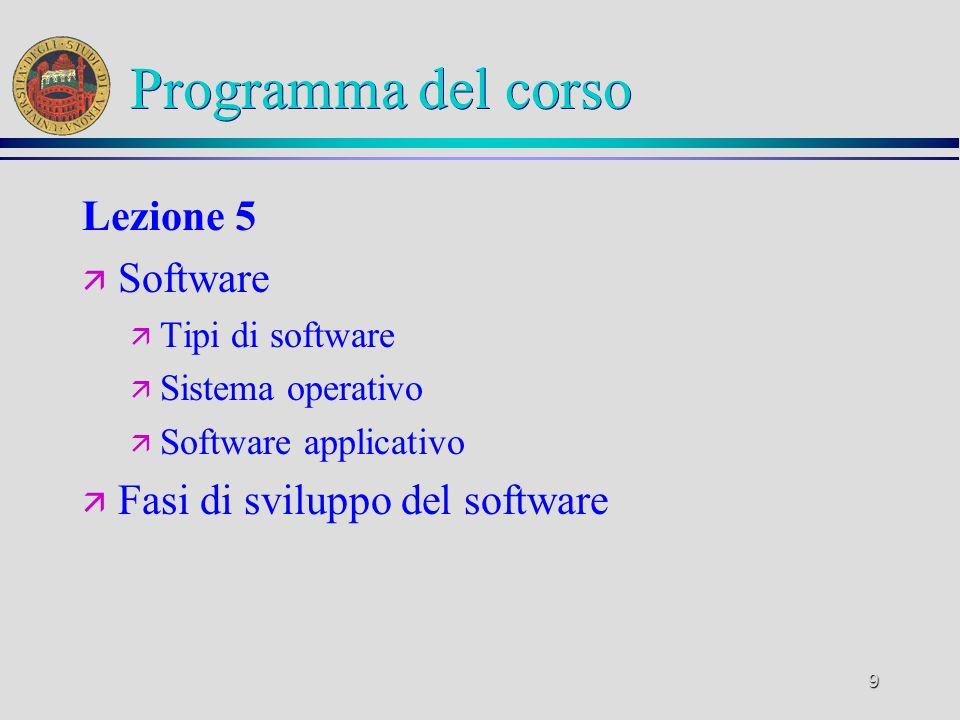 8 Programma del corso Lezione 4 ä Struttura hardware di un calcolatore ä Architettura di Von Neumann; ä CPU e sue caratteristiche; ä Dispositivi di interfacciamento (input e output); ä Dispositivi di memoria (RAM, ROM, cache, Hard disk); ä Influenza della struttura sulle prestazioni