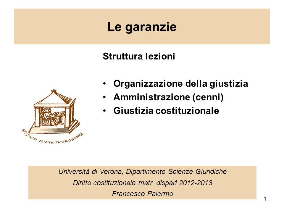 1 Le garanzie Università di Verona, Dipartimento Scienze Giuridiche Diritto costituzionale matr.