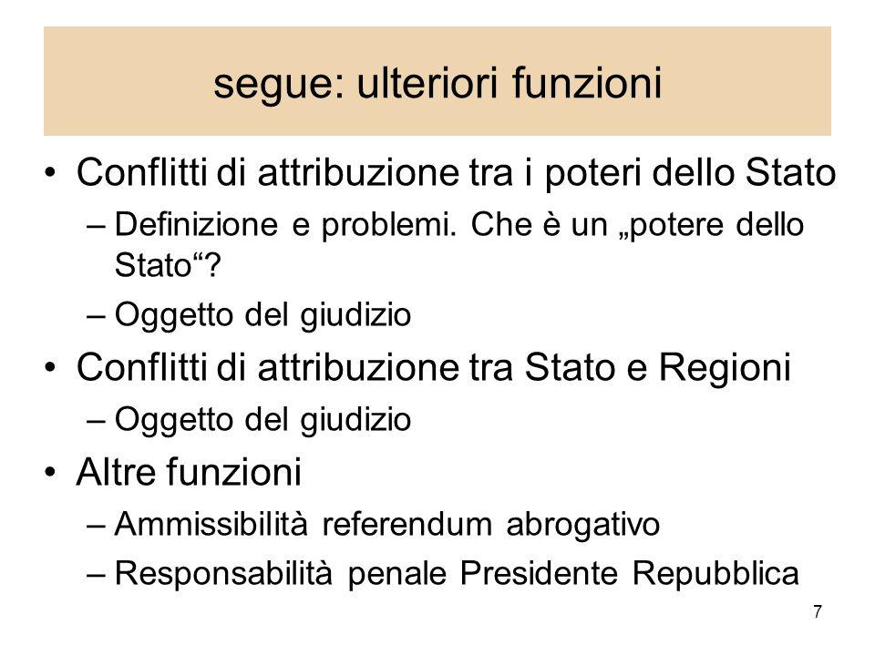 7 segue: ulteriori funzioni Conflitti di attribuzione tra i poteri dello Stato –Definizione e problemi.