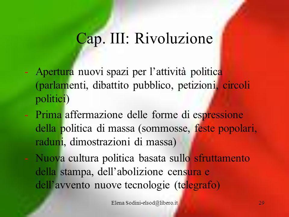 Elena Sodini-elsod@libero.it29 Cap. III: Rivoluzione -Apertura nuovi spazi per lattività politica (parlamenti, dibattito pubblico, petizioni, circoli