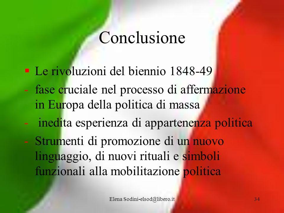 Elena Sodini-elsod@libero.it34 Conclusione Le rivoluzioni del biennio 1848-49 -fase cruciale nel processo di affermazione in Europa della politica di