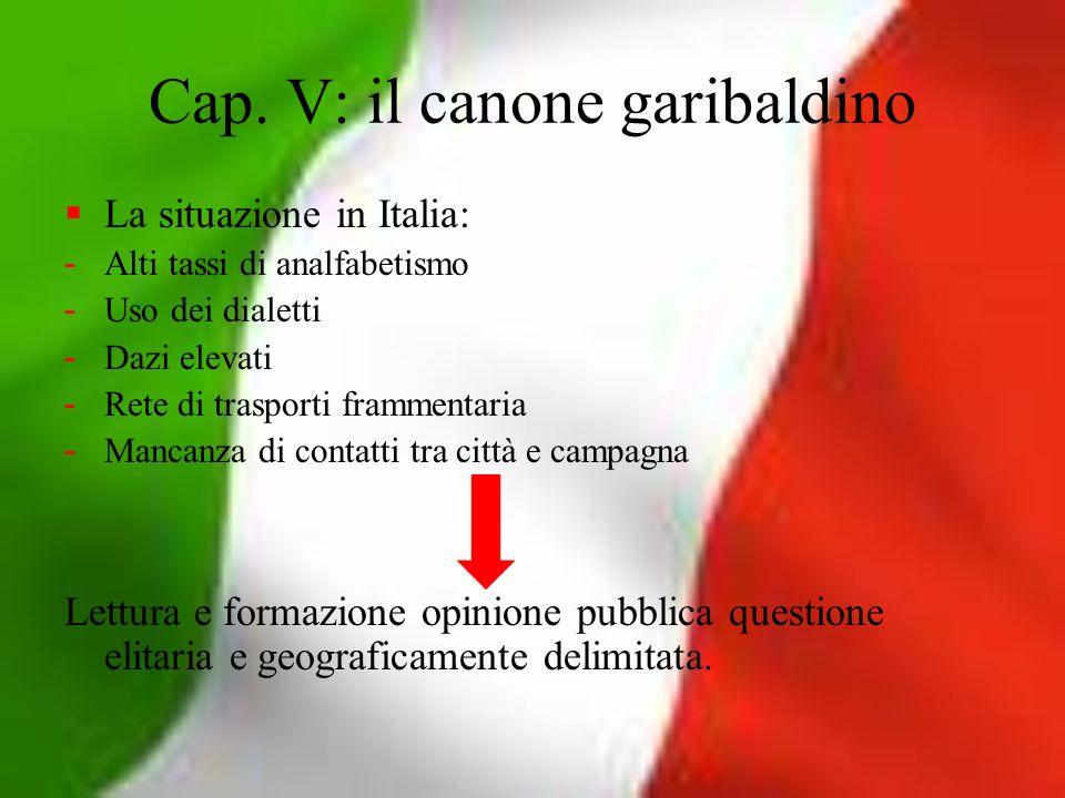 Cap. V: il canone garibaldino La situazione in Italia: - Alti tassi di analfabetismo - Uso dei dialetti - Dazi elevati - Rete di trasporti frammentari