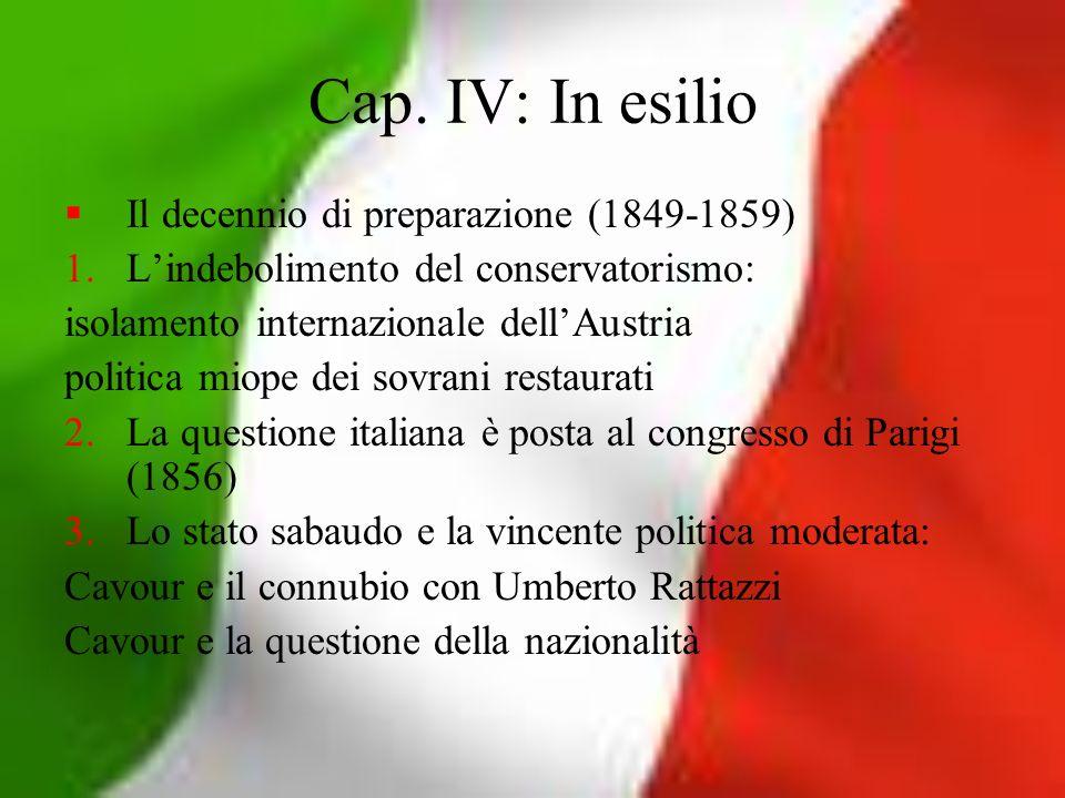 Cap. IV: In esilio Il decennio di preparazione (1849-1859) 1.Lindebolimento del conservatorismo: isolamento internazionale dellAustria politica miope