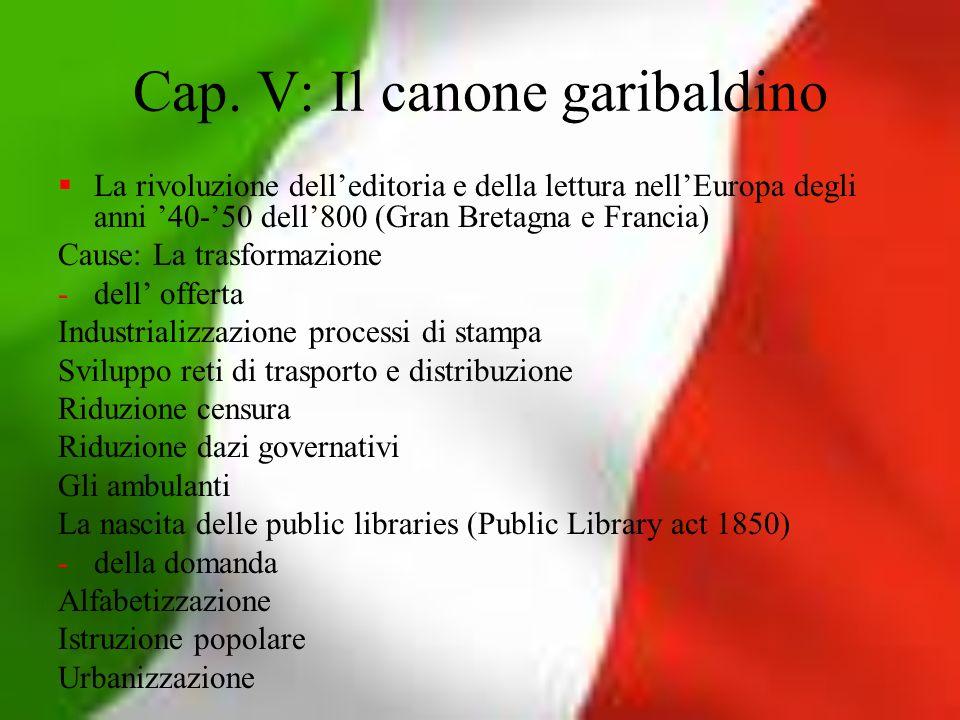 Cap. V: Il canone garibaldino La rivoluzione delleditoria e della lettura nellEuropa degli anni 40-50 dell800 (Gran Bretagna e Francia) Cause: La tras