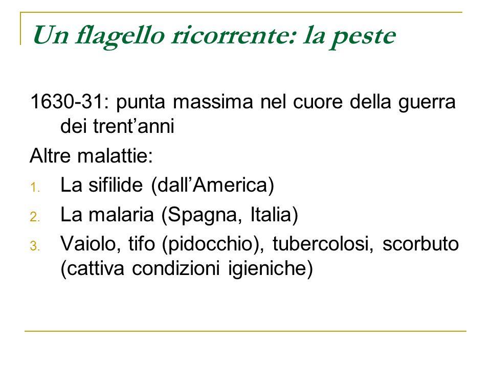 Un flagello ricorrente: la peste 1630-31: punta massima nel cuore della guerra dei trentanni Altre malattie: 1. La sifilide (dallAmerica) 2. La malari