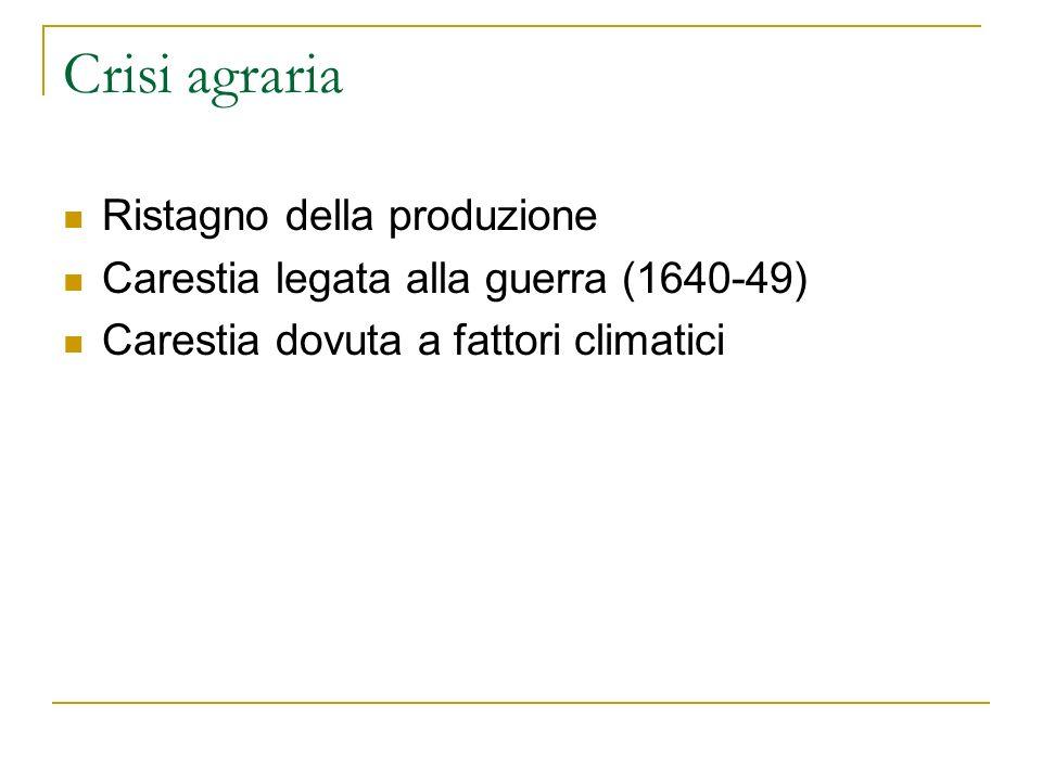 Crisi agraria Ristagno della produzione Carestia legata alla guerra (1640-49) Carestia dovuta a fattori climatici