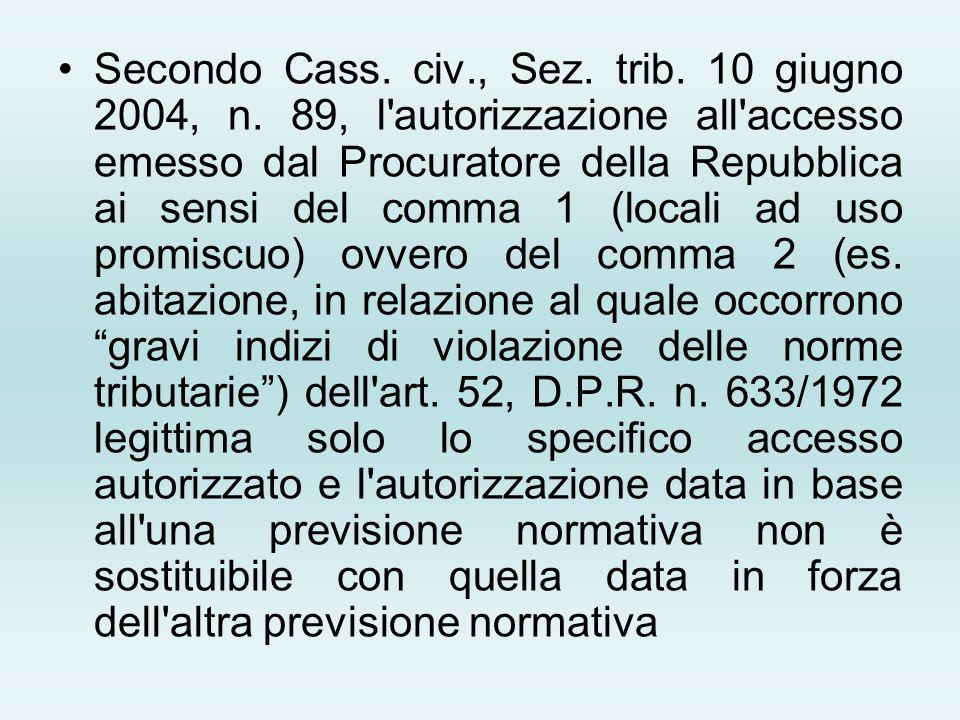 Secondo Cass. civ., Sez. trib. 10 giugno 2004, n. 89, l'autorizzazione all'accesso emesso dal Procuratore della Repubblica ai sensi del comma 1 (local