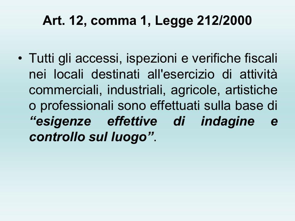 Art. 12, comma 1, Legge 212/2000 Tutti gli accessi, ispezioni e verifiche fiscali nei locali destinati all'esercizio di attività commerciali, industri