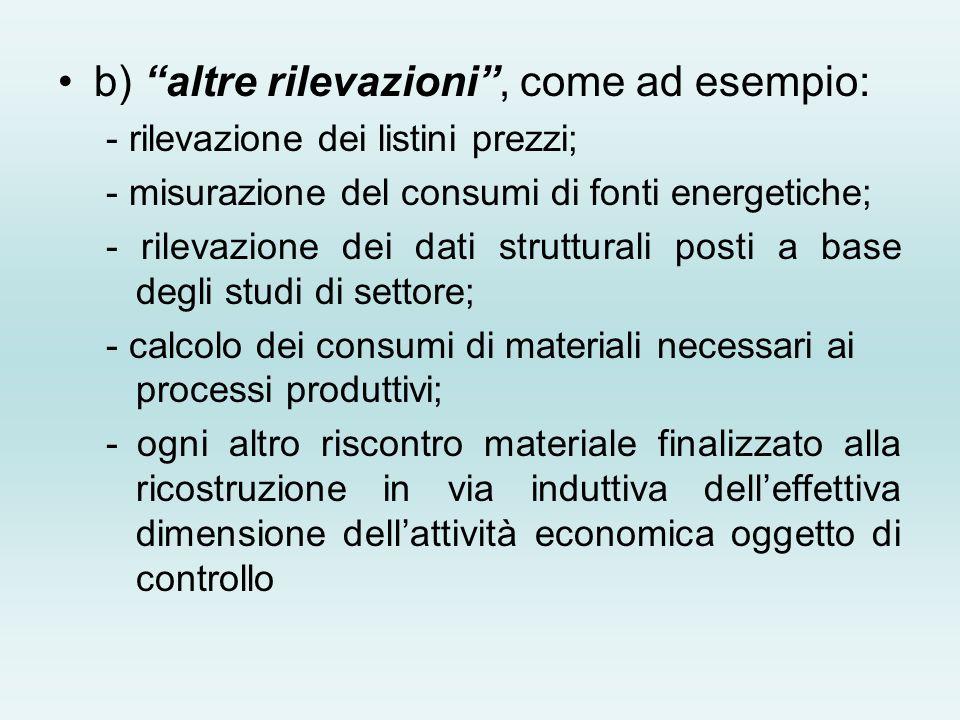 b) altre rilevazioni, come ad esempio: - rilevazione dei listini prezzi; - misurazione del consumi di fonti energetiche; - rilevazione dei dati strutt