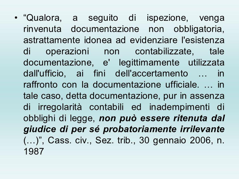 Qualora, a seguito di ispezione, venga rinvenuta documentazione non obbligatoria, astrattamente idonea ad evidenziare l'esistenza di operazioni non co