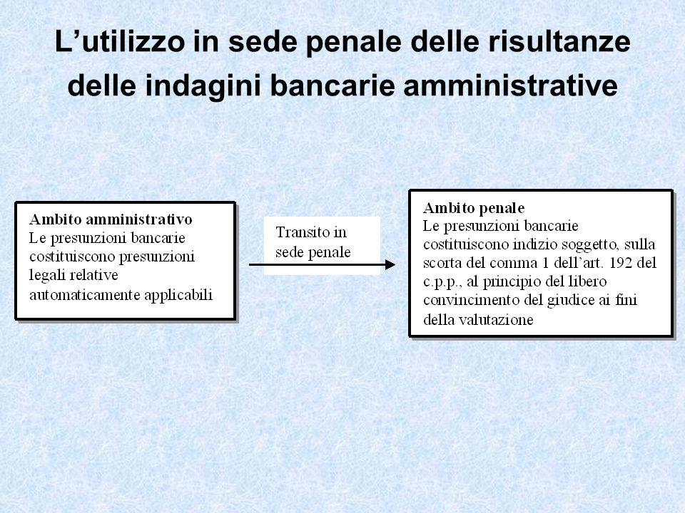 Lutilizzo in sede penale delle risultanze delle indagini bancarie amministrative