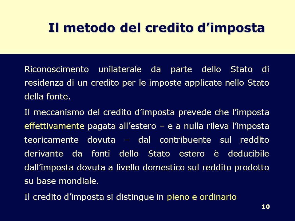 10 Il metodo del credito dimposta Riconoscimento unilaterale da parte dello Stato di residenza di un credito per le imposte applicate nello Stato dell
