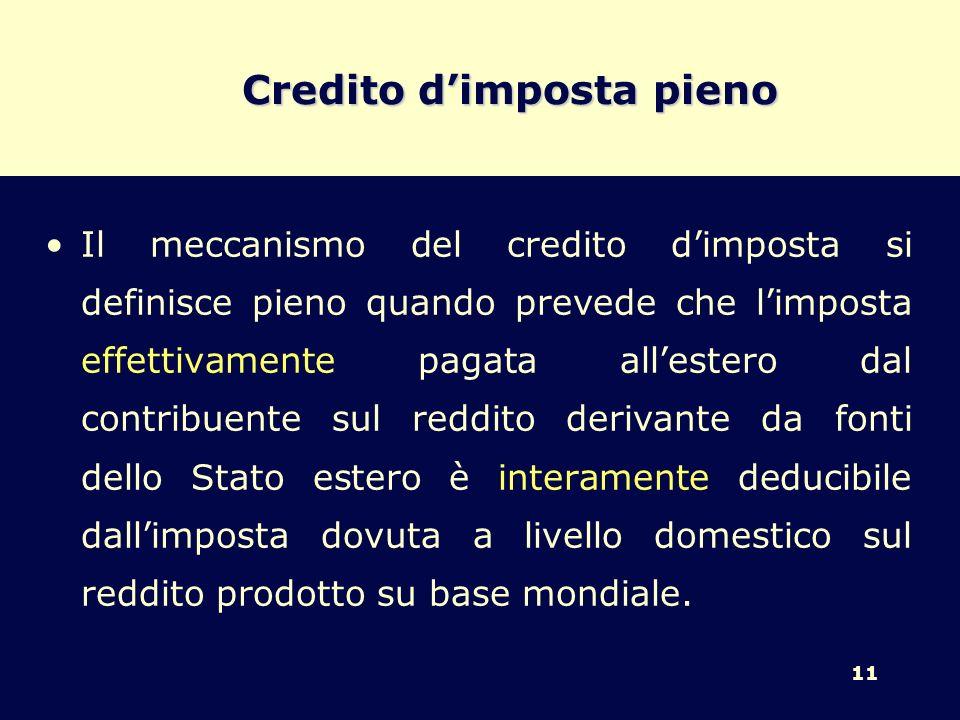 11 Credito dimposta pieno Il meccanismo del credito dimposta si definisce pieno quando prevede che limposta effettivamente pagata allestero dal contri