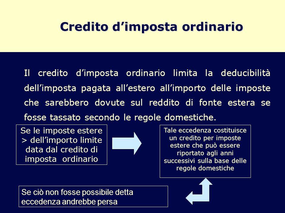 Credito dimposta ordinario Il credito dimposta ordinario limita la deducibilità dellimposta pagata allestero allimporto delle imposte che sarebbero do