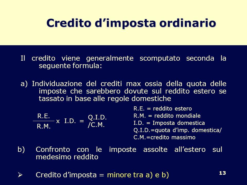 13 Credito dimposta ordinario R.E. = reddito estero R.M. = reddito mondiale I.D. = Imposta domestica Q.I.D.=quota dimp. domestica/ C.M.=credito massim