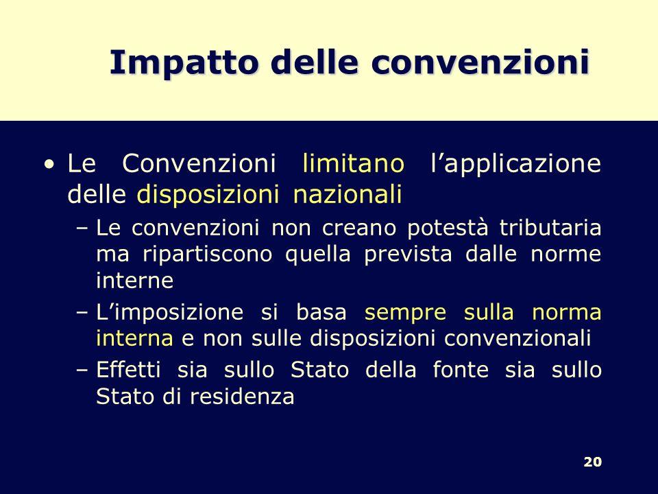 20 Impatto delle convenzioni Le Convenzioni limitano lapplicazione delle disposizioni nazionali –Le convenzioni non creano potestà tributaria ma ripar