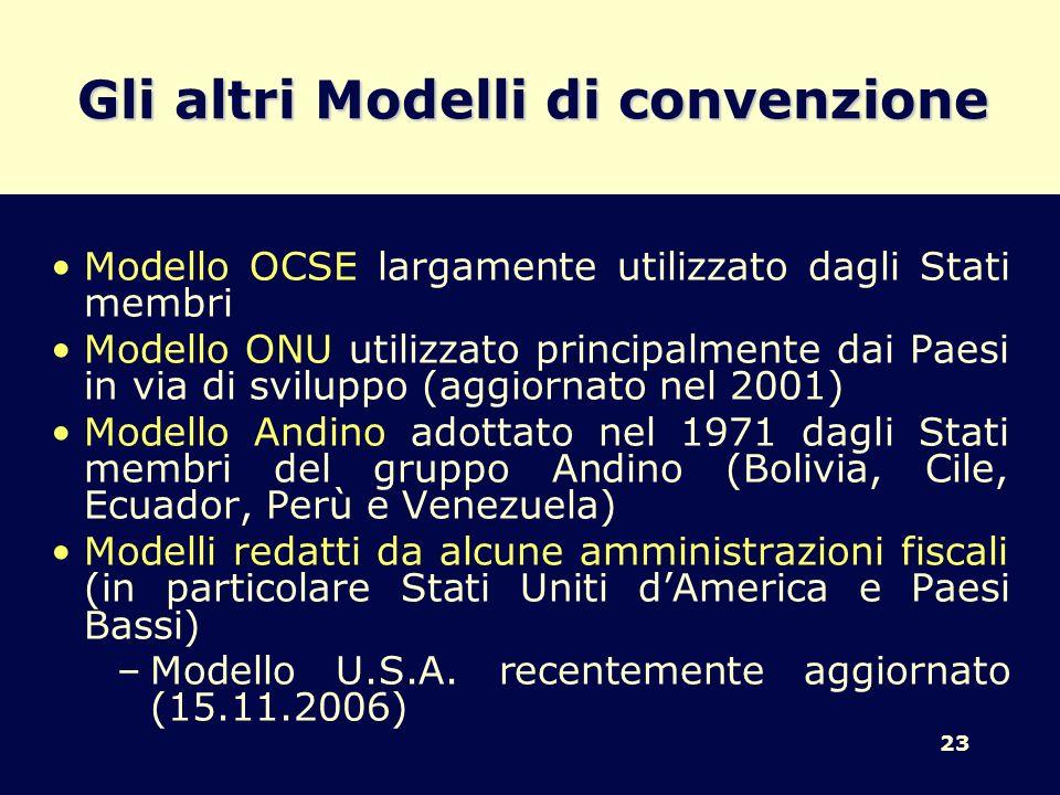 23 Gli altri Modelli di convenzione Modello OCSE largamente utilizzato dagli Stati membri Modello ONU utilizzato principalmente dai Paesi in via di sv